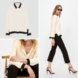 NEW Zara Flowing Top with Contrasting Trim